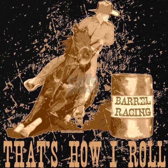 horse barrel racing roll black
