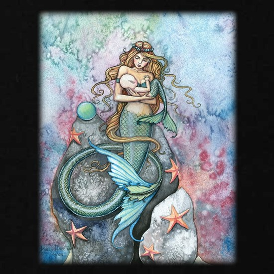 Mother and Baby Mermaids Fantasy Art  Illustration