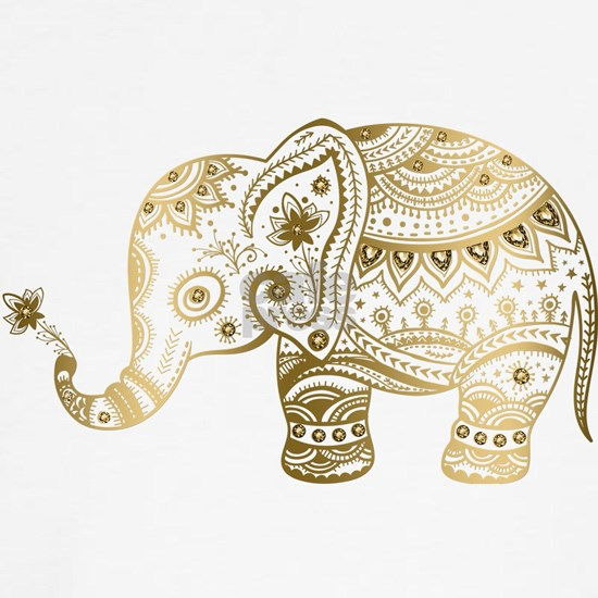 Gold tones cute tribal elephant illustration