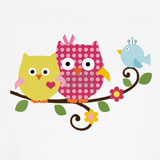 Cute Happy Tree Owls on Branch