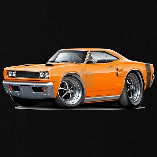 1969 Coronet RT Orange-Black Double Scoop Hood.pn