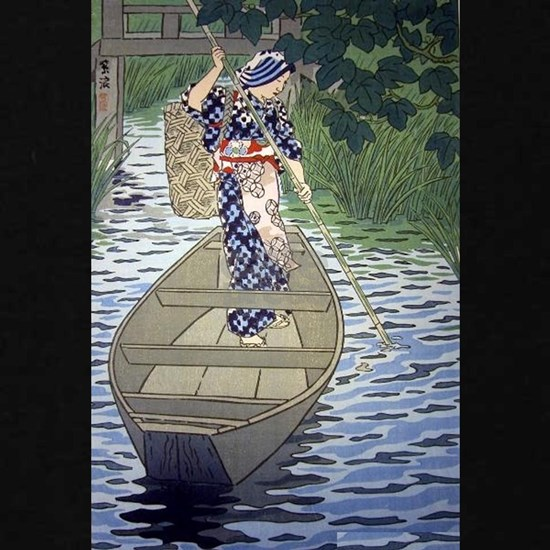 Japanese River Boat Fishing Woman Japan Art Cool