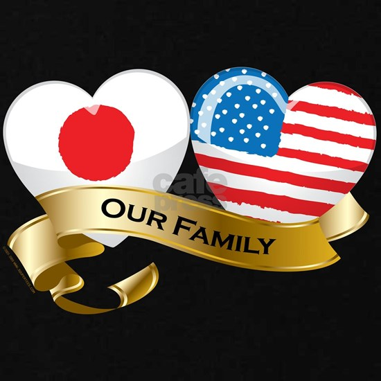 Our Family: Japan and USA heart-shaped flags
