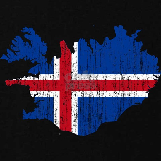 Iceland Flag and Map Aged