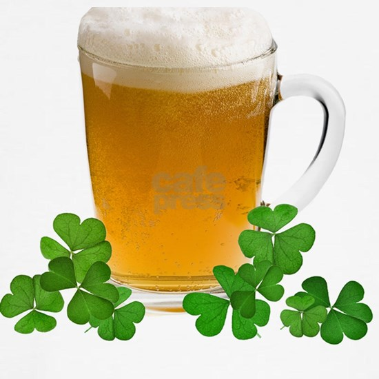 Shamrock clover and beer - - symbol of holiday St