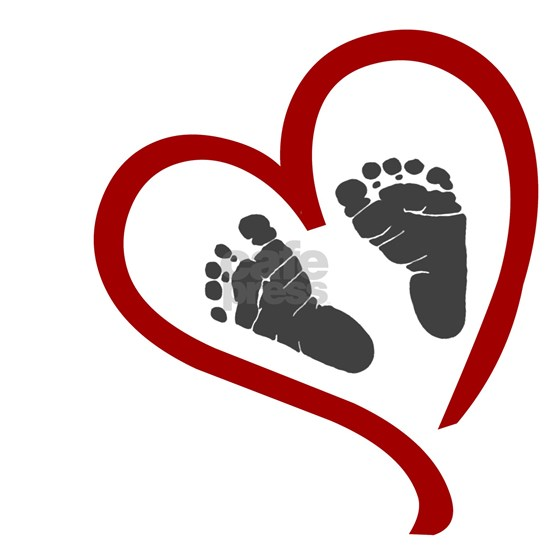 Baby Heart Feet Red