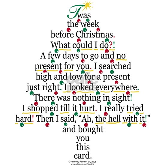 Xmas card Greeting Card Christmas Tree Gift Poem Card ...