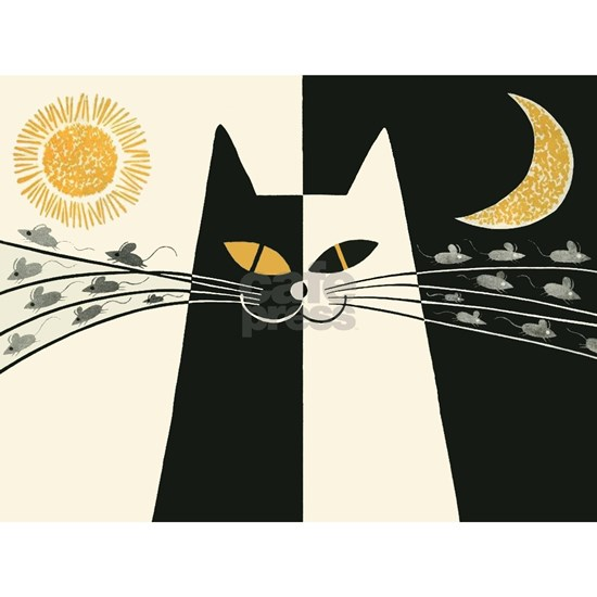 Black and White Cat;  Vintage Poster