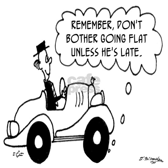 4445_tire_cartoon_LS Note Cards (Pk of 20) Go Flat When He
