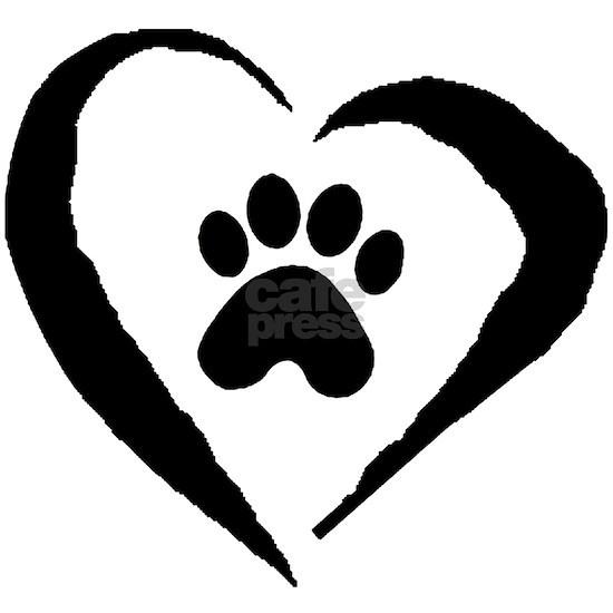 Paw  Heart- BW