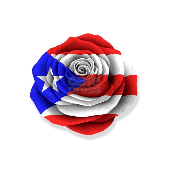 Puerto Rican Rose Flag on White