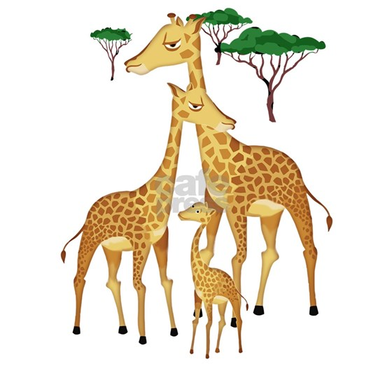 Giraffe Family on the Plains with Acacia Trees