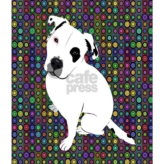 Cute white pit Bull circle pattern