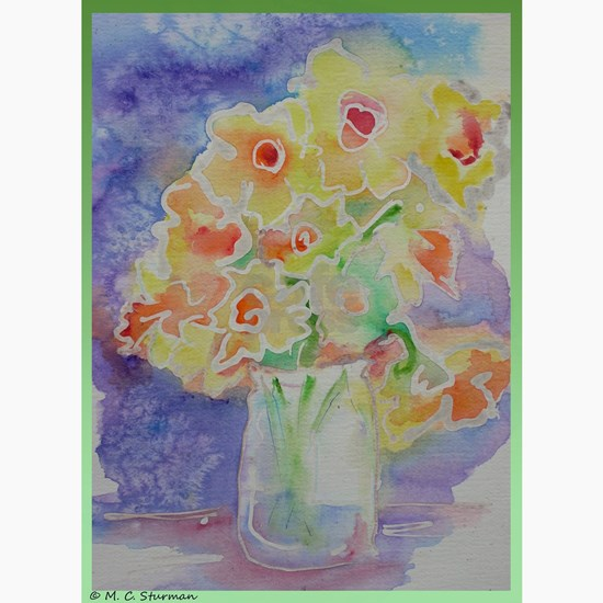 Floral Bouquet! Daffodils in vase!