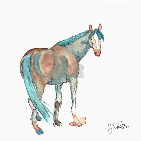 Abstract Watercolor Horse Painting