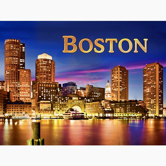 Boston Harbor at Night text BOSTON copy