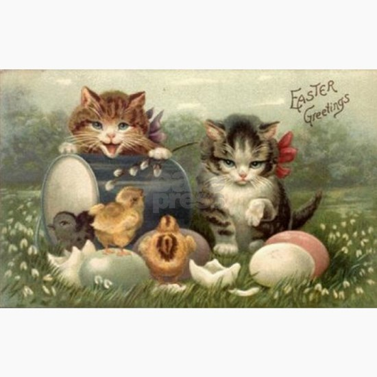 Vintage Victorian Retro Art Cats Kittens Easter
