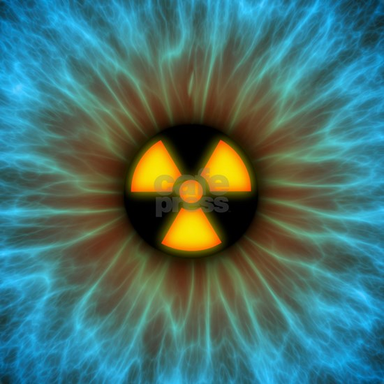 Iris with radiation warning sign