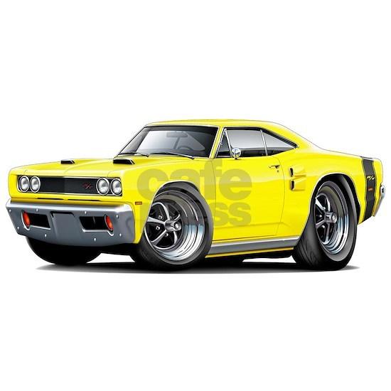 1969 Coronet RT Yellow-Black Double Scoop Hood.pn