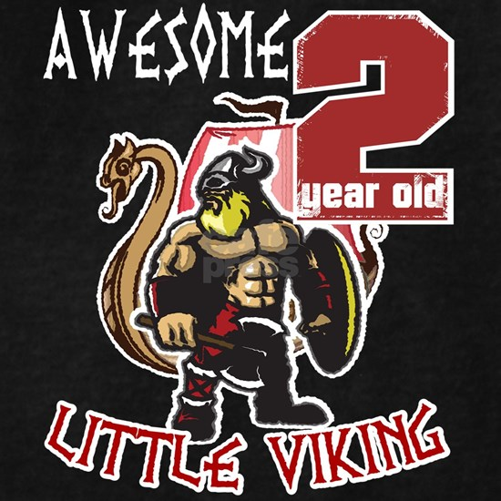 Funny 2 Year Old Little Viking 2nd Birthday Boy T-