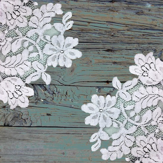 primitive teal barnwood lace