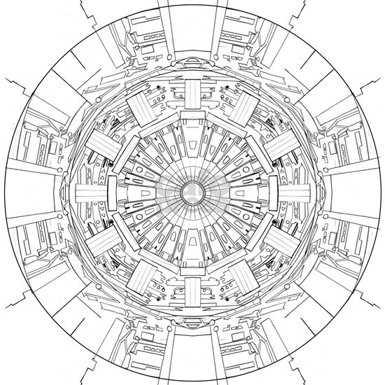 Large Hadron Collider Lineart