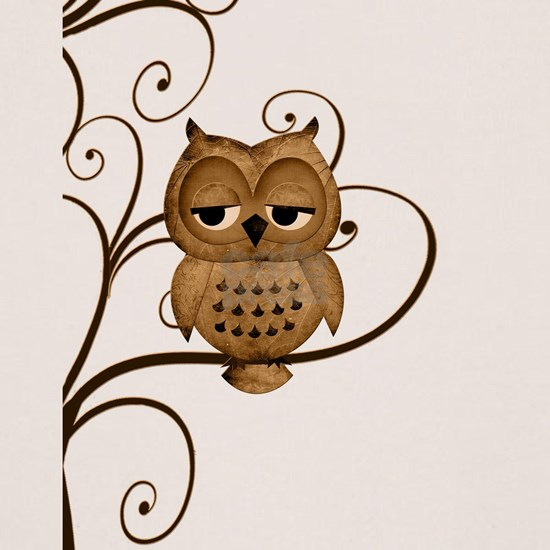 Brown Swirly Tree Owl