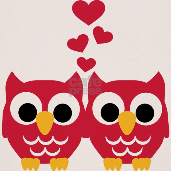 Red owls red hearts