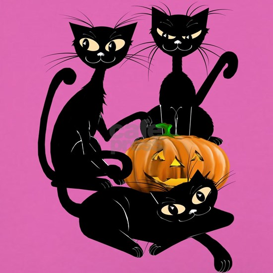 Three Black Kitties and a PumpkinTrans