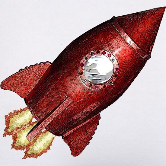 Red Rocketship - Classic, Lucky!