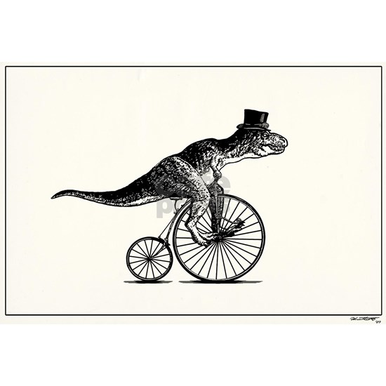 T-Rex on a Penny Farthing (White Background)