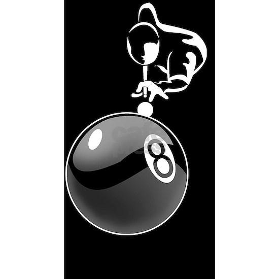 8 ball man_white 5x3oval_sticker