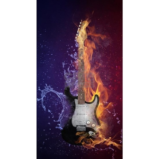 Cool Music Guitar Fire Water Artistic