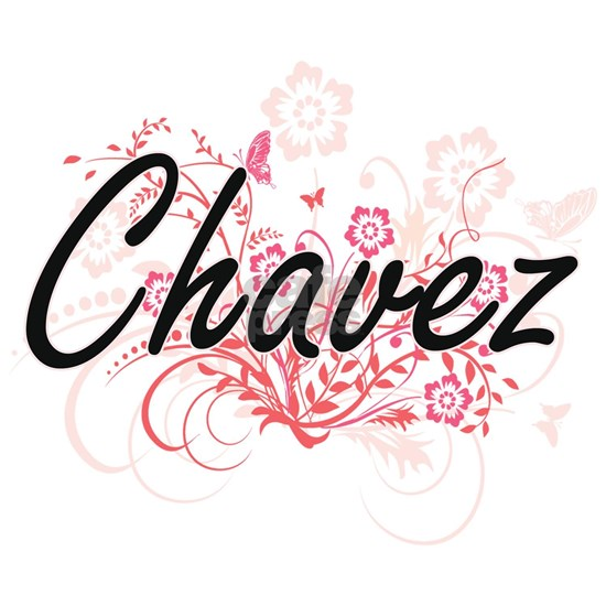 Chavez surname artistic design with Flowers