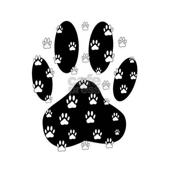 White Paws All Over Black Paw Print
