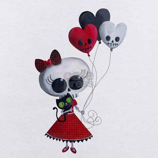 Cute Skeleton Girl with Spooky Balloons