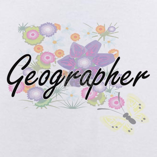 Geographer Artistic Job Design with Flowers