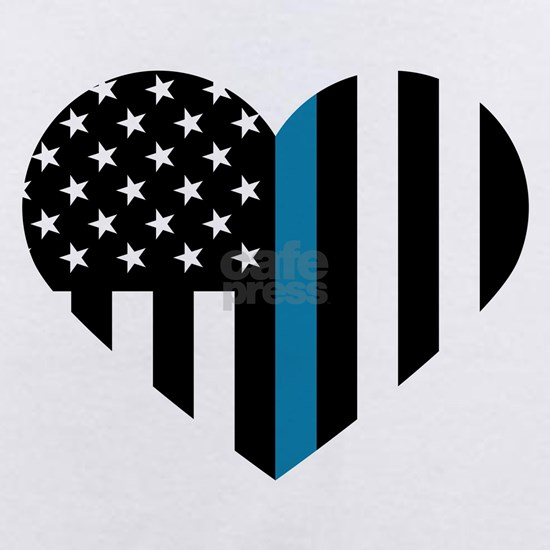 Thin Blue Line American Flag Heart