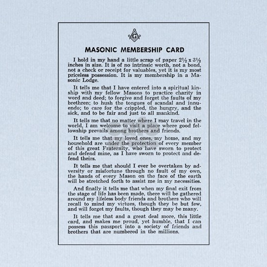 Masonic Membership Card