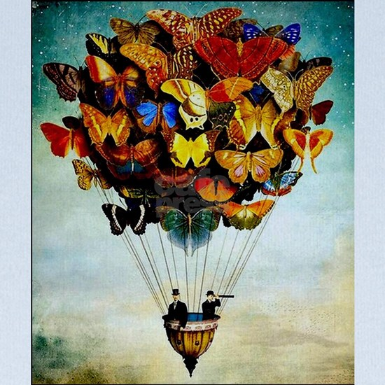 Butterfly Abstract Balloon Vintage Colorful Print