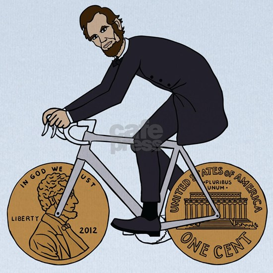 Abraham Lincoln On A Bike With Penny Wheels