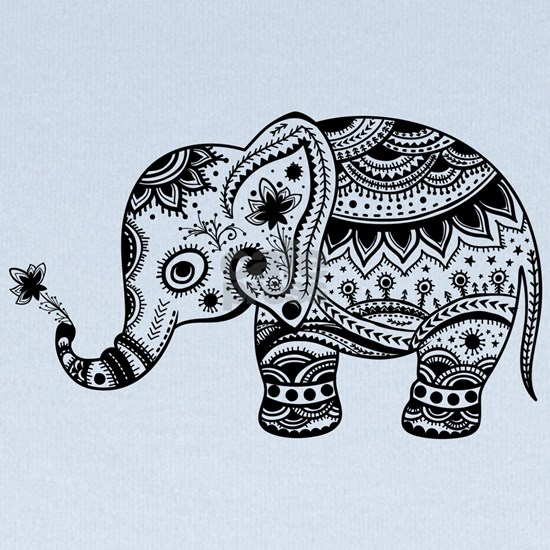 Cute Floral Elephant illustration In Black