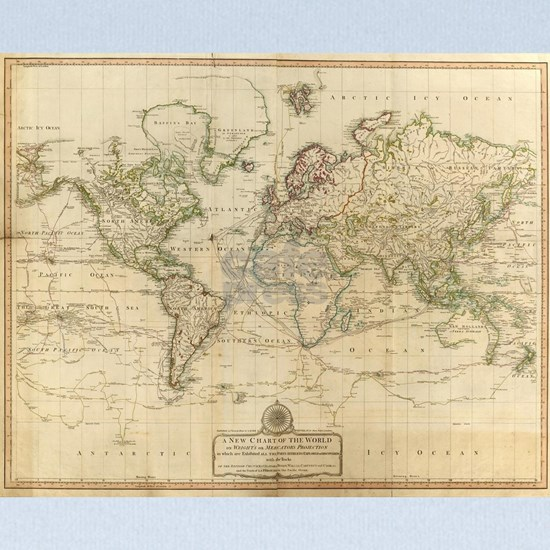 Vintage Map of The World (1800) baby blanket