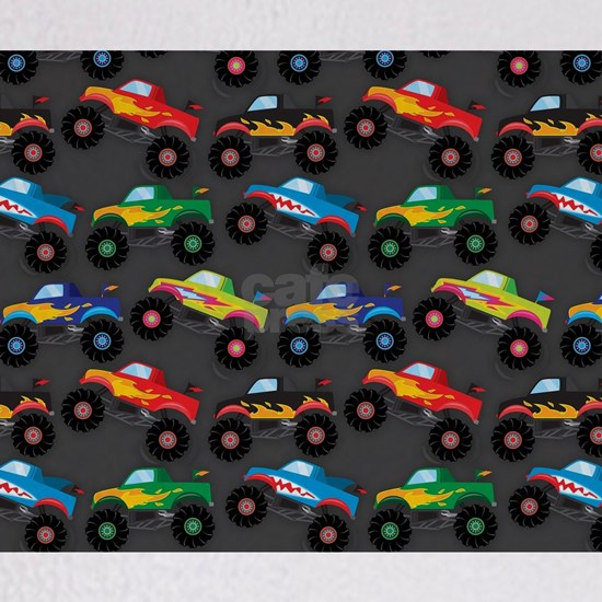 Cool Monster Trucks Pattern, Colorful Kids
