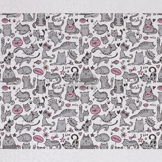 Whimsical Cartoon Cat Pattern