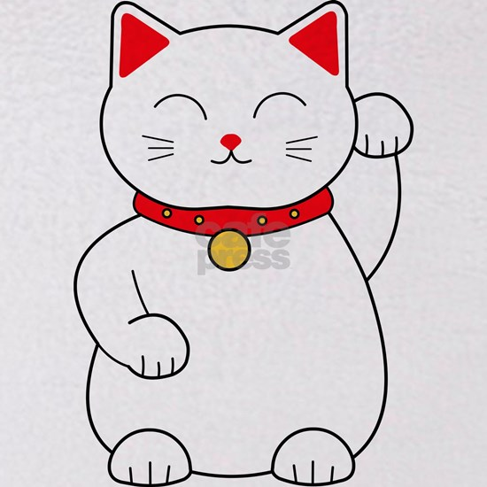 White Lucky Cat Left Arm Raised