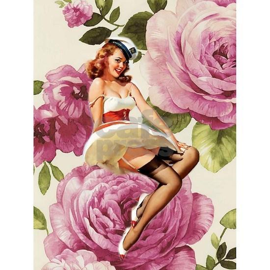 cute vintage sailor girl purple roses