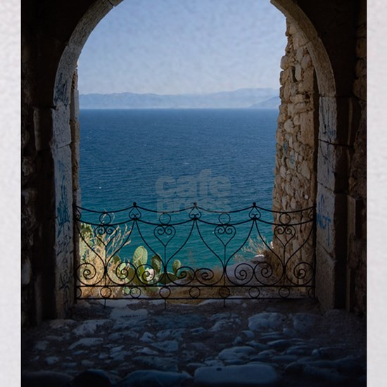 Arched balcony of fortresse Acronafplia on the sea