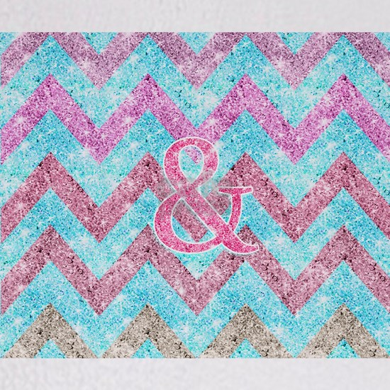 Pink Glitter Ampersand Girly Teal Purple Chevron