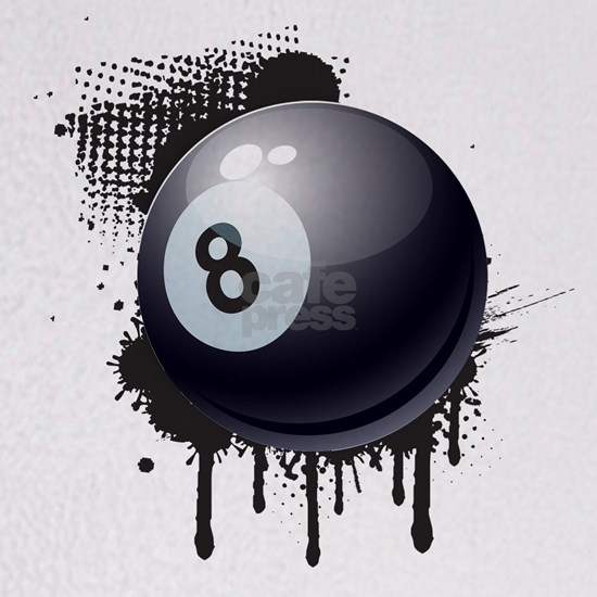 Abstract Black Ink Splotch with BILLIARD Ball